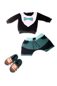 Minimanns Outfit in dunkelblau-mint 1