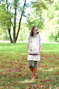 Mein Herbstkleid in beige und rot